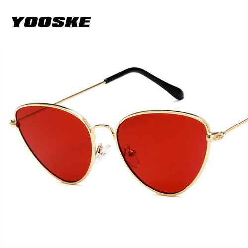 YOOSKE Retro Cat Eye Sunglasses Women Yellow Red Lens Sun glasses Fashion Light Weight Sunglass for women Vintage Metal Eyewear