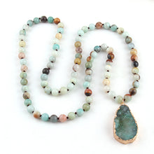 Fashion Bohemian Tribal Jewelry long Knotted Amazonite Natural Druzy Drop Pendant Stone Necklace