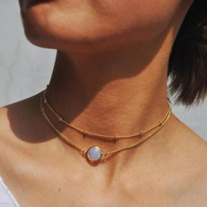 Korean Version Of Simple Imitation Gem Double Short Ladies Necklace, Round Pendant Necklace Statement Necklace Choker Necklace