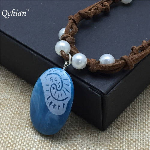 Movie Princess Moana Necklace Cosplay Pendants blue Stone Moana Necklaces for Kids Girls Women Cosplay Jewelry