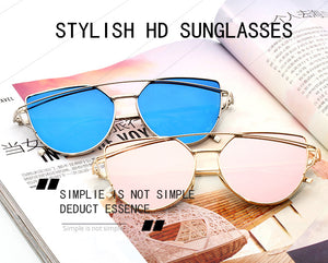 XIESIQING Sunglasses Women brand Gradient Ocean Lens Cat Eye Sunglasses Ladies Alloy Full Frame Sun Glasses oculos de sol UV400