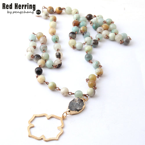 Fashion Bohemian Tribal Jewelry Beads Halsband Amazonite Stones Natural Druzy Flower of Life Pendant Necklace