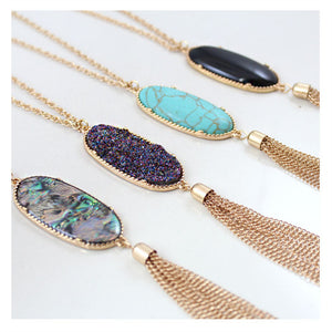 New fashion women jewelry wholesale Geometric color tassel pendant long necklace sweater chain female necklace