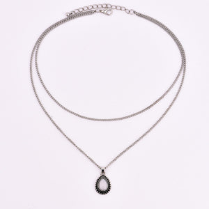 New vintage silver color drop stone pendant necklace women girl jewelry gifts N0045