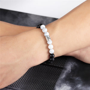 12 Zodiac Signs 8mm Matte Stone White Elastic Beads Bracelets Vintage Constellation Horoscope Bracelets Jewelry For Men Women