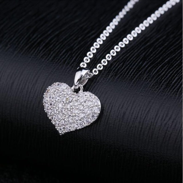 LZX Brand Heart Shape Crystal Choker Necklace White Gold Color Cubic Zirconia Stone Necklaces Pendants For Women Fashion Jewelry