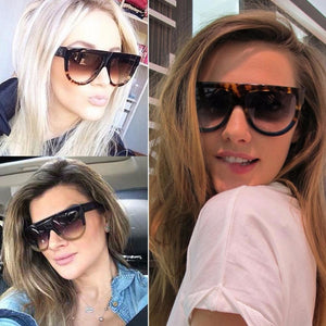 2016 Fashion Sunglasses Women Flat Top Style Brand Design Vintage Sun glasses Female Rivet Shades Big Frame Shades UV400
