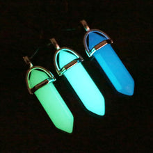 FAMSHIN 2017 Luminous Stone Fluorescent Hexagonal Column Necklace Natural Crystal Gem Stone Pendant Leather Chains Necklace