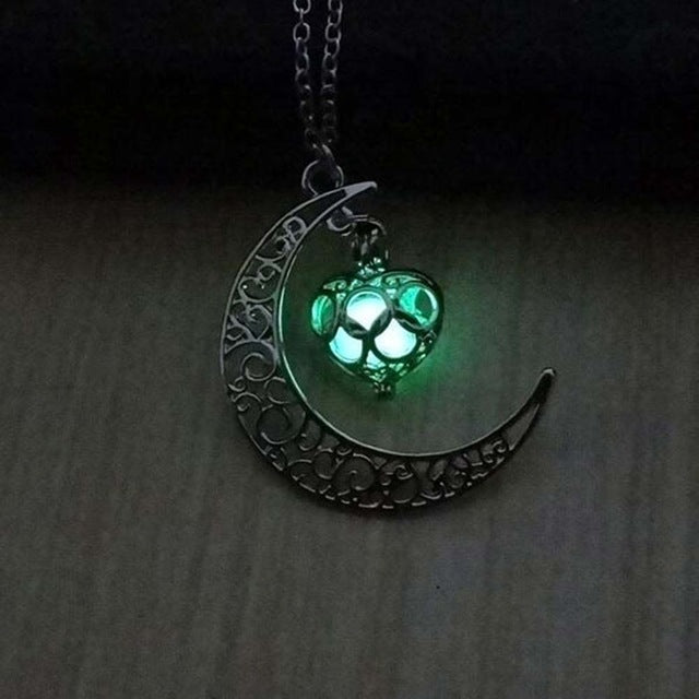 IPARAM moon glowing necklace, green stone charm jewelry, silver plated, Halloween gift