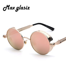 Maxglasiz Brand new 2018 Mirror Lens Round Glasses Goggles Steampunk Sunglasses Vintage Retro For men and women Hisper Eyewear