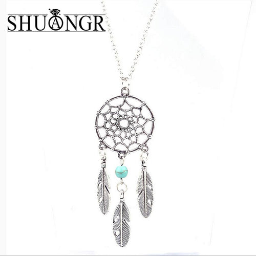 SHUANGR Trendy Style Dreamcatcher Pendant Mandala Lotus Necklace Yoga  feather Stone Pendant Jewelry Dream Catcher Necklace