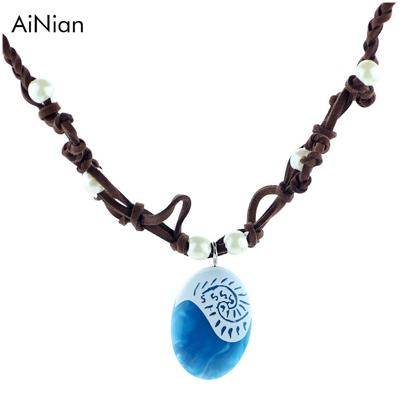 AiNian Moana Ocean Romance Rope Chain Necklaces Blue Stone Te Fiti Heart Pendants Necklace For Women Female Jewelry