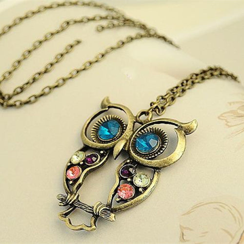 XS009 Vintage Cute Owl Carved Hollow Necklaces Long Chain Necklaces Pendants Fashion Jewelry Wholesales NEW Arrival