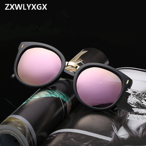 2018 New Fashion Arrow Sunglasses Women Brand Designer Bright Mirror Reflective  Retro Female Sun Glasses Oculos De Sol