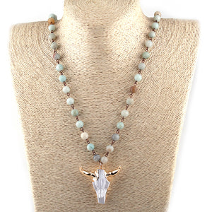 Amazonite Stones statement necklaces Bohemian Tribal Jewelry Horn Pendant Necklace