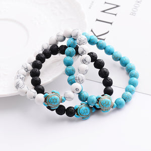 Summer Style Sea Turtle Beads Bracelets For Women Men Classic 8MM Blue Natural Stone Elastic Friendship Bracelet Beach Jewelry