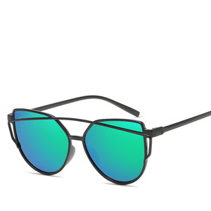 Fashion Brand Cat Eye Sunglasses Women Twin-Beams Sun glasses Female Retro Coating Mirror Glasses Flat Panel Lens