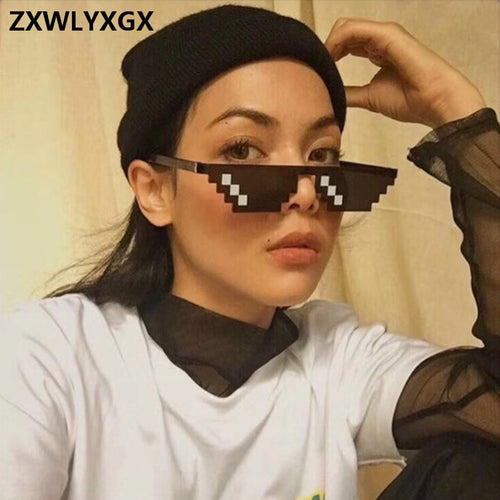 ZXWLYXGX Popular Mosaic Glasses 8 Bit MLG Pixelated Sunglasses Women Men Brand Thug Life Party Eyeglasses Vintage Sun Glasses