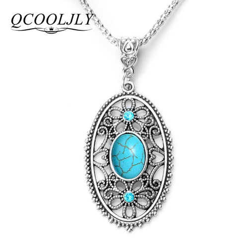 QCOOLJLY Women Long Necklace Zinc Alloy Stone Crystal Heart Pendant Necklace Jewelry