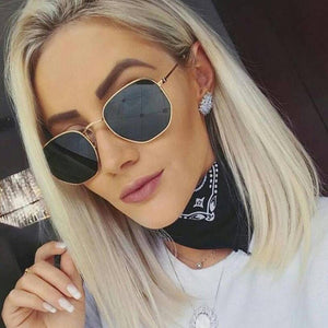 Fashion Sunglasses Women Brand Designer Small Frame Polygon Clear Lens Sunglasses Men Vintage Sun Glasses Hexagon Metal Frame