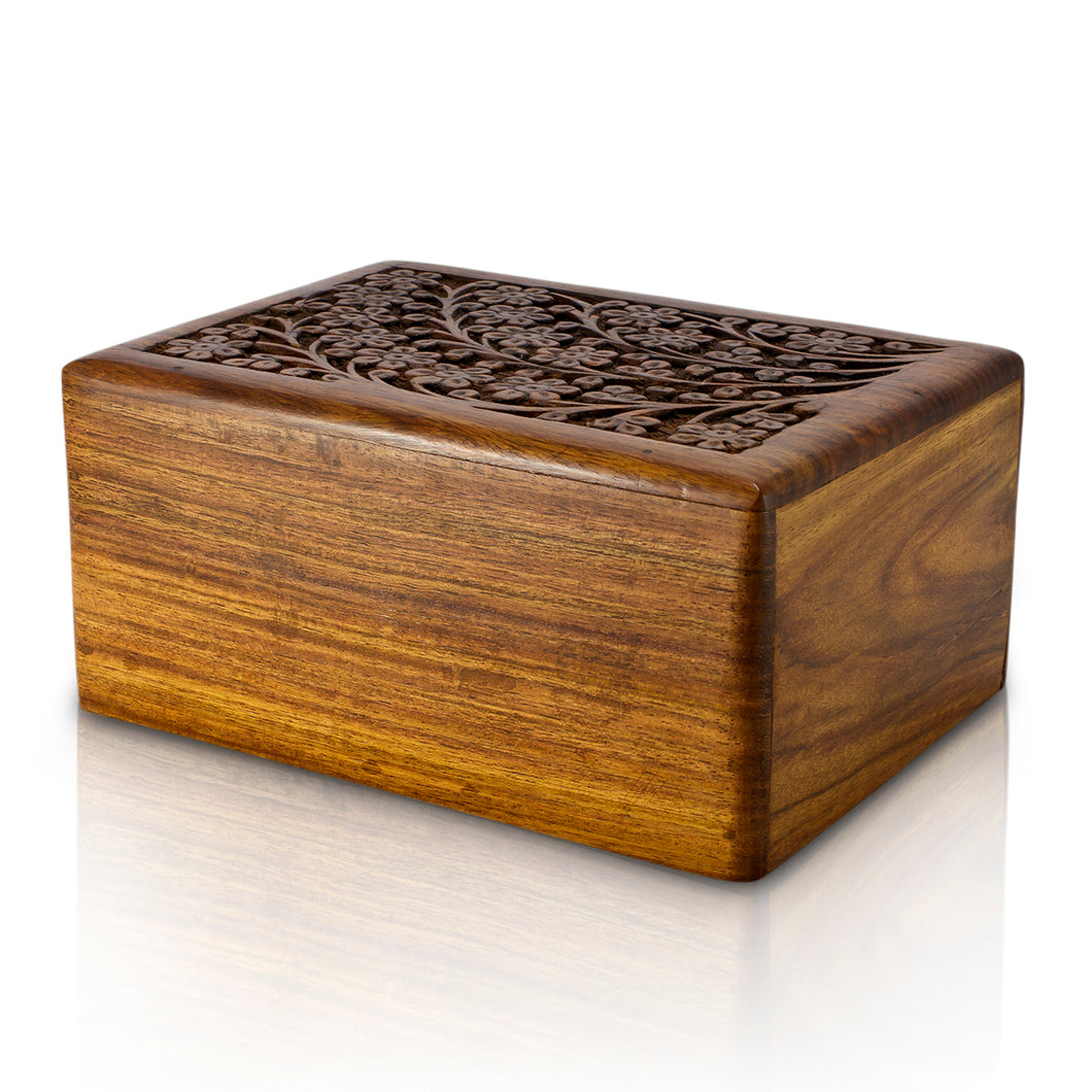 Hand Carved Wooden Urn Medium - for pets from 20kg to 45kg all inclusive