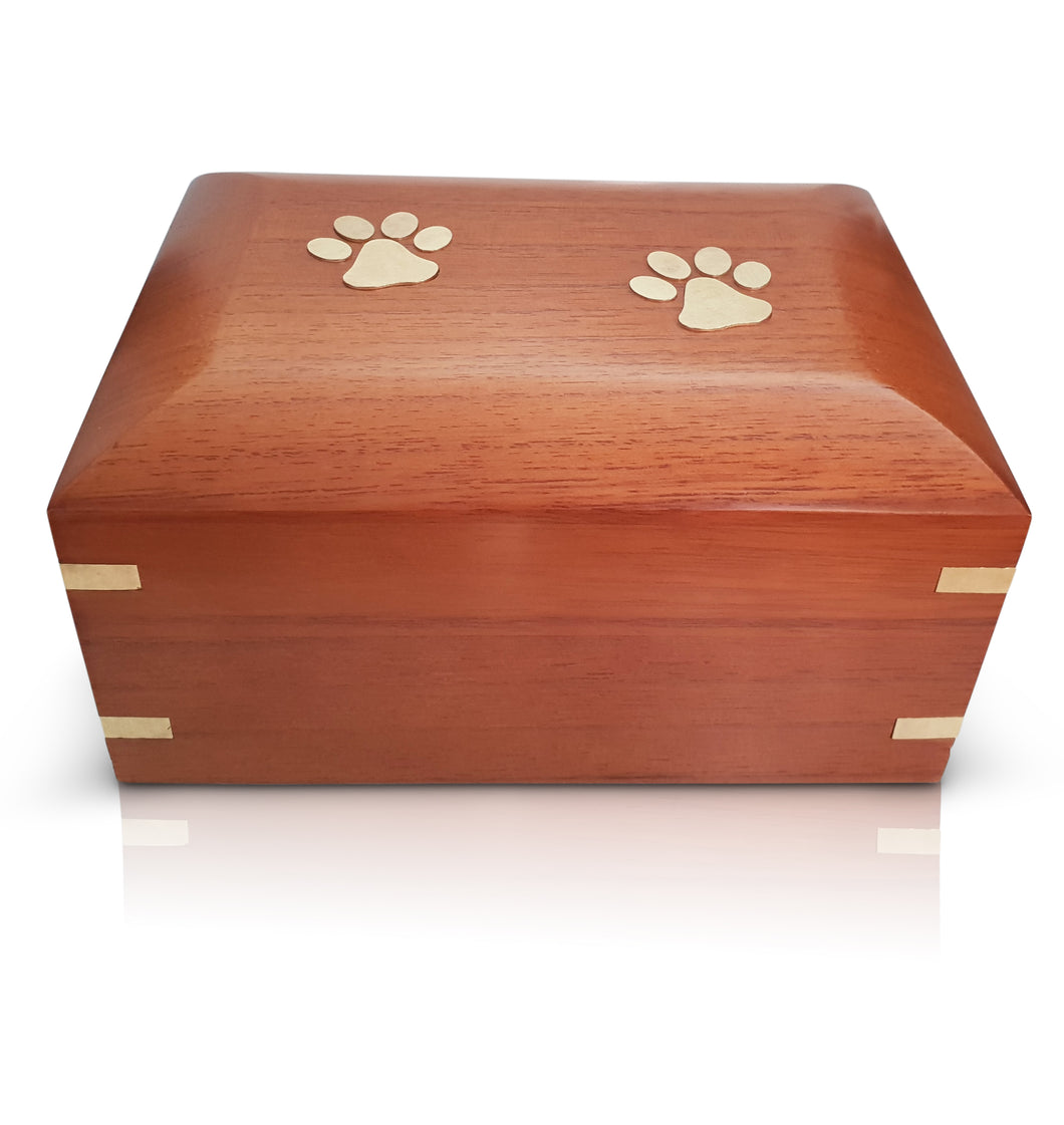 Paw Print Standard Wooden Urn - for pets up to 40kg all inclusive