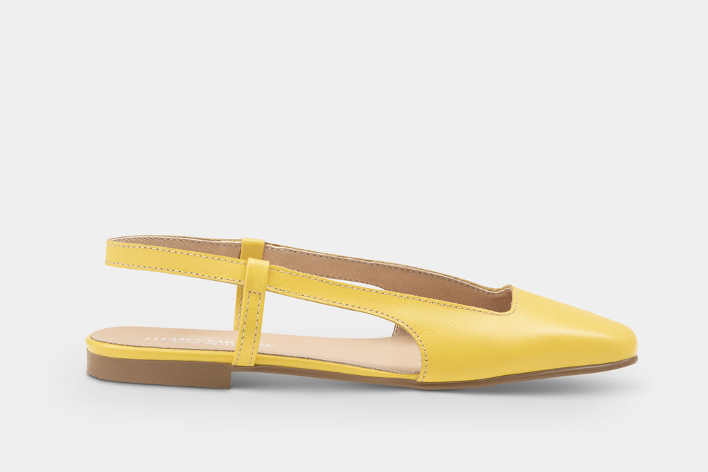 Load image into Gallery viewer, slingback pelle gialla