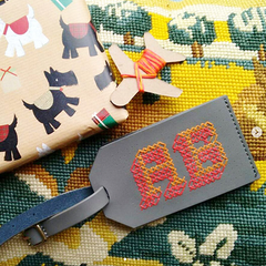 Grey Stitch Luggage Tag @AB