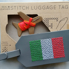 Grey Stitch Luggage Tag Italian Flag
