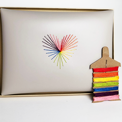 rainbow love heart strings envelope pouch
