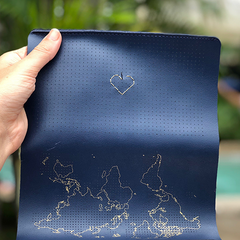 Navy Wallet stitched with a heart