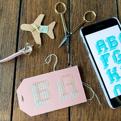 Pink Stitch Luggage Tag BA