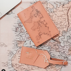 Pink Stitch Luggage Tag map