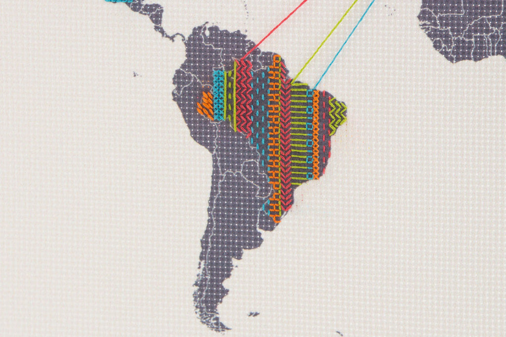 Patterned map of South America stitched in colourful thread