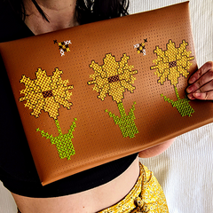 Brown laptop sleeve stitched by megcookie96