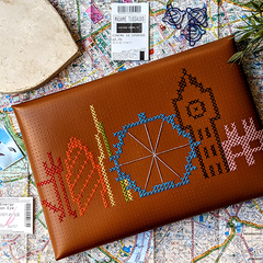 Brown Laptop sleeve stitched with London skyline by megcookie96