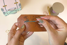 Stitch Map Luggage Tag - Brown
