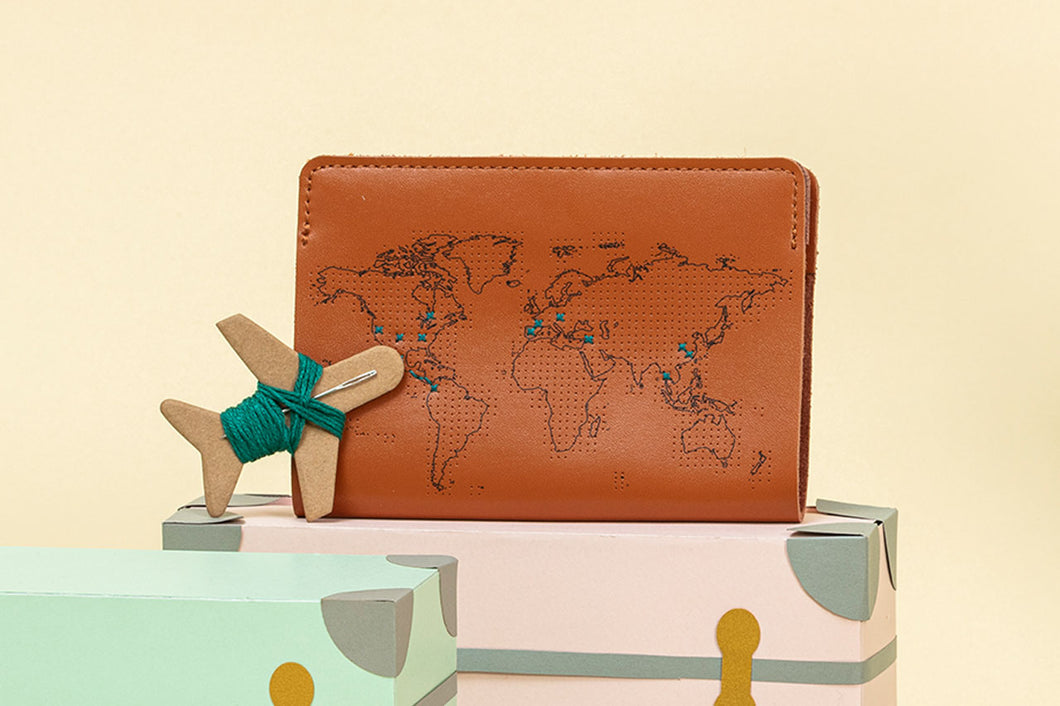 Stitch Passport Cover - Brown