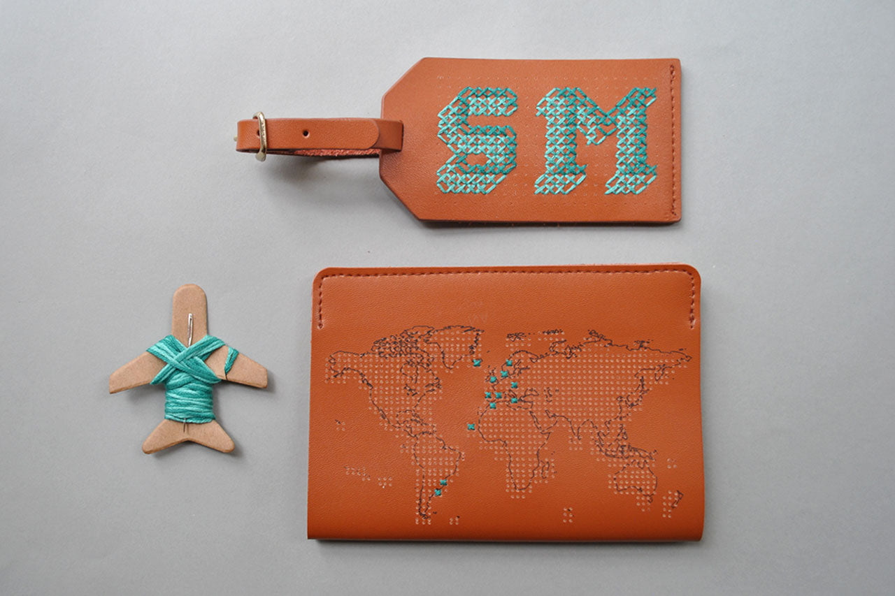 Stitch Where Youve Been Map Passport Cover Brown Leather