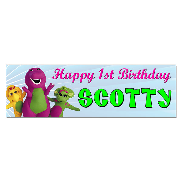Barney Custom Printed Birthday Banner