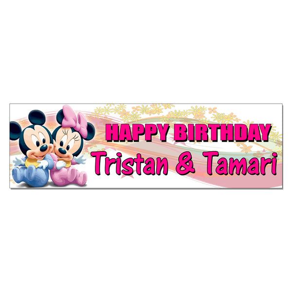 Baby Mickey and Minnie Custom Birthday Banner