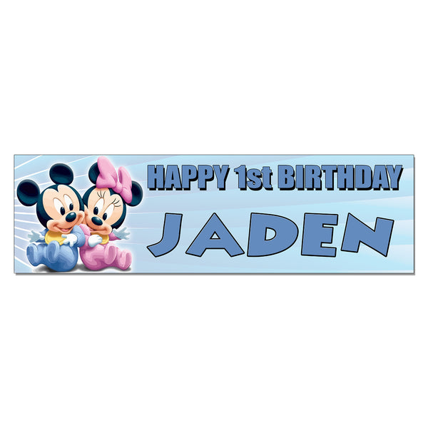 Baby Mickey & Minnie Custom Printed Birthday Banner