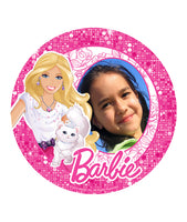 Glitter Barbie Edible Image Photo Frame Cake Topper with Your Image