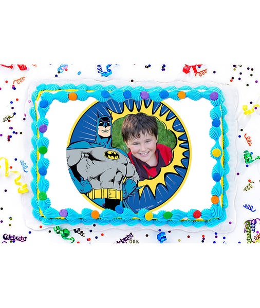 Batman Kapow Edible Image Photo Frame Cake Topper with Your Image