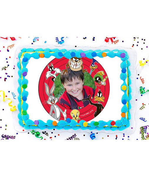 Looney Tunes Edible Image Photo Frame Cake Topper with Your Image