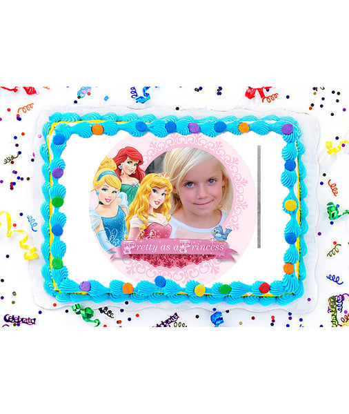 Disney Princess Edible Image Photo Frame Cake Topper with Your Image