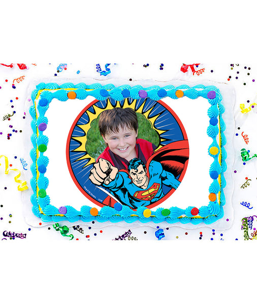 Superman Edible Image Photo Frame Cake Topper with Your Image