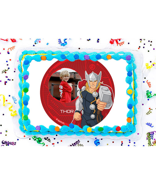 Avengers Thor Edible Image Photo Frame Cake Topper with Your Image