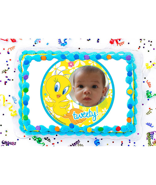 Tweety Edible Image Photo Frame Cake Topper with Your Image