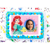 Ariel and Flounder from The Little Mermaid Edible Image Photo Frame Cake Topper with Your Image